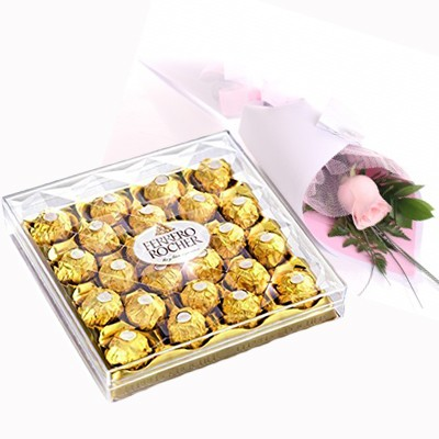 Single Rose & 24pcs Ferrero Rocher