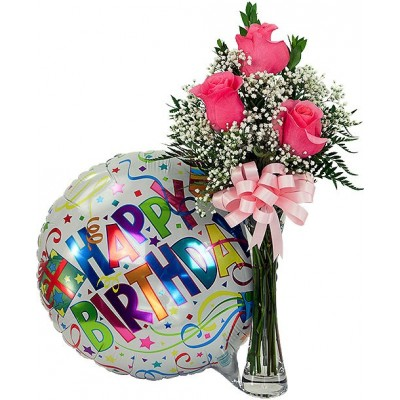 Lovely Birthday Arrangement - Rose with Vase and Mylar Balloon