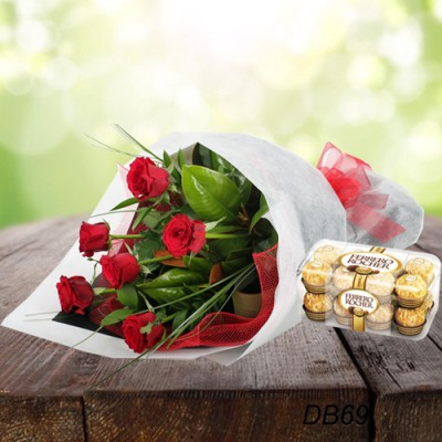 Rose with chocolates