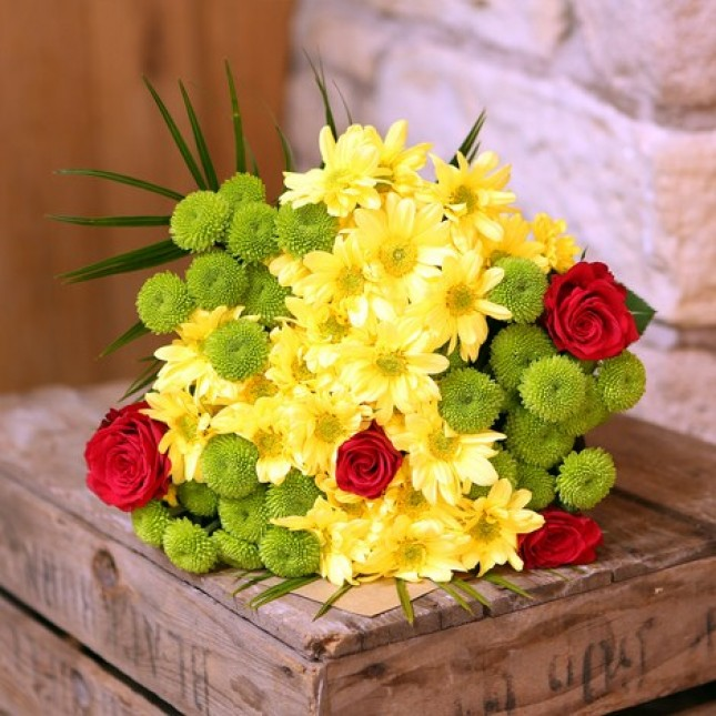 Rose, Chrysanthemum and Lilies Bouquet