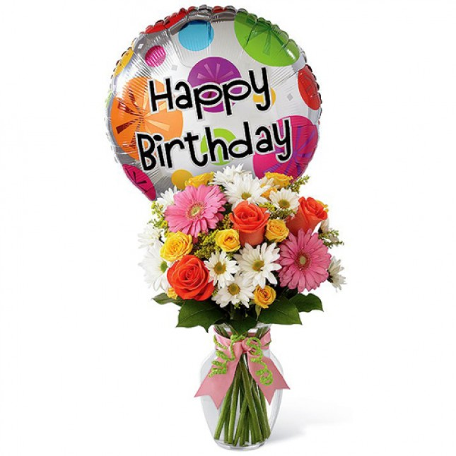 Colorful Birthday Celebration - Mixed Flower in Vase and Balloon