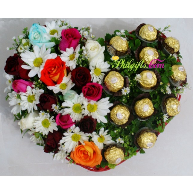 Heartful Mixed Flowers and Chocolate