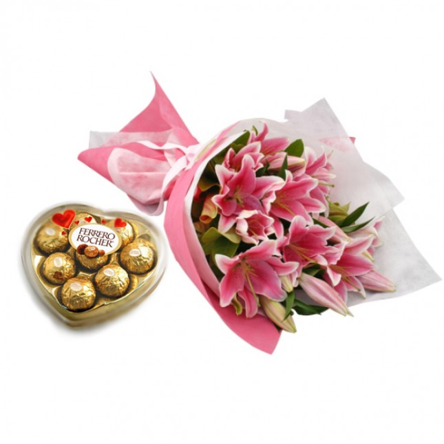 Lily Bouquet with Ferrero Heart Shape