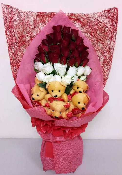 Myregalo - Roses with Bear Bouquet - manila flower