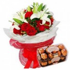 Bunch of Lilies and Roses  & 16 Pcs Ferrero