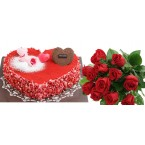 Strawberry Heart Cake w/ Flower