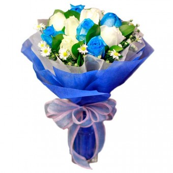 White and Blue Rose Bouquet to Philippines