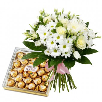 All White Bouquet + Ferrero 24pcs