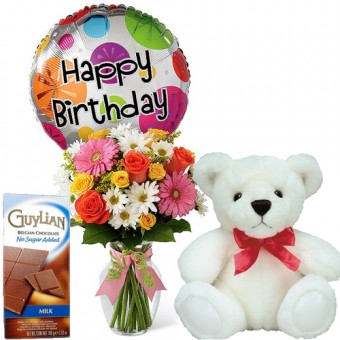 "Colorful Birthday Celebration - Mixed Flower in Vase and Balloon + 16"" White Bear + Guylian Chocolate Bar"