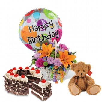 """Colorful Blooms Basket  - Flower, Balloon + 6"""" Stuffed Toy and Black Forest Junior Size"""