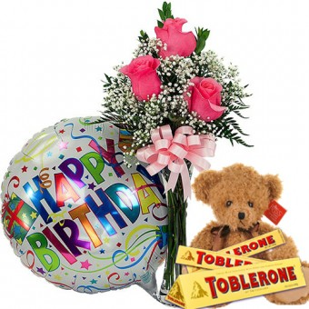 Lovely Birthday Arrangement - Cute bear, Toblerone Chocolate, Rose with Vase and Mylar Balloon