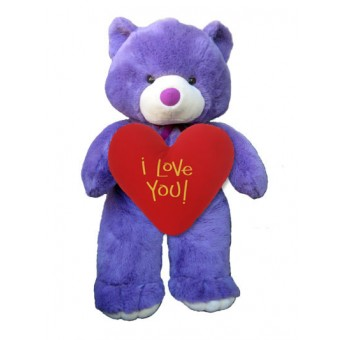 Giant Purple Bear with Heartshape Pillow