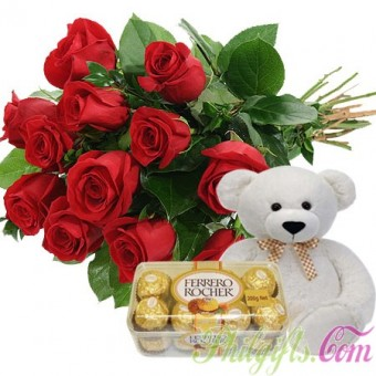 Sweet Thoughts - Rose Boquet + Ferrero Rocher + Cute Bear