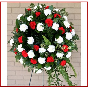 Red & White Carnation Wreath
