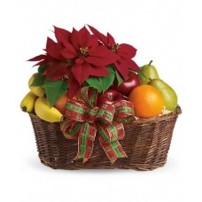 Poinsettia and Fruit Gift Basket