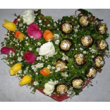 Heartful Mixed Rose and Ferrero Rocher Chocolates