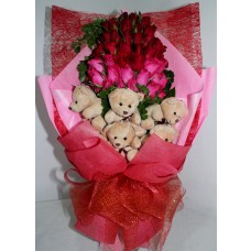 Roses with Bear Bouquet