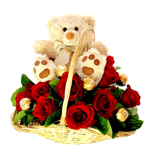 Bear, Rose and Ferrero Basket